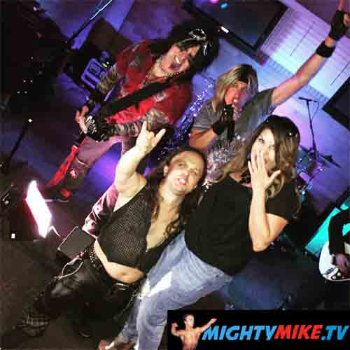 Rock N Roll Dwarf Singing Vocals Side Kick Performer Mighty Mike, Rocking stage with Babes n Tribute Band Motley INC.