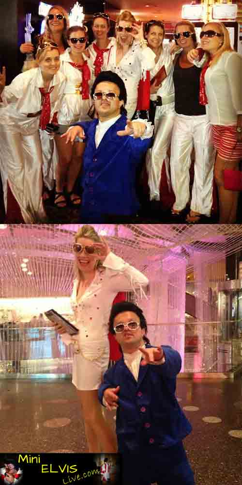 MINI ELVIS ROCKIN WITH SWEDISH ELVIS'S AT MARQUEE COSMOPOLOTAN LAS VEGAS PARTIES ENTERTAINMENT TO HIRE GIRLS STAG DO