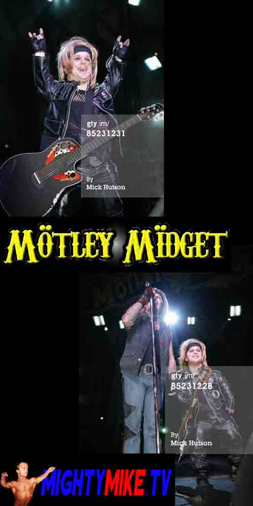 MIGHTY MIKE MINI VINCE NEIL GUITAR MOTLEY CRUE CONCERT DWARF HIRE FOR TOURS.